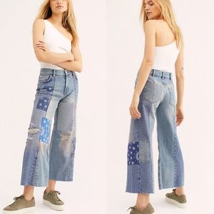 NWT Free People Heart of Gold Patchwork Jeans